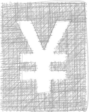 yen sign: Signo Yen Freehand S�mbolo