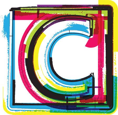 letter c: Colorful Grunge Font LETTER C