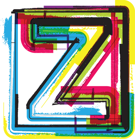 buchstabe z: Bunte Grunge Font LETTER Z Illustration
