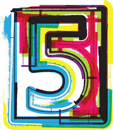 Colorful Grunge Font NUMBER 5 Vector