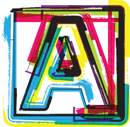 hand write: Colorful Grunge Font LETTER A