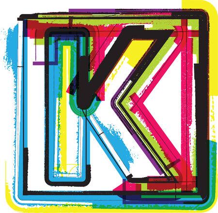 buchstabe k: Bunte Grunge Font Buchstabe K Illustration