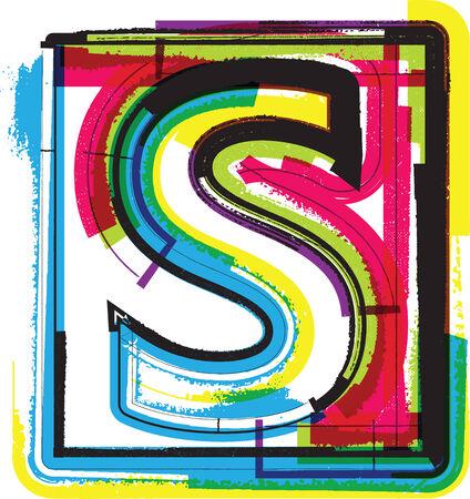 letra s: Colorful Grunge fuente de la letra S