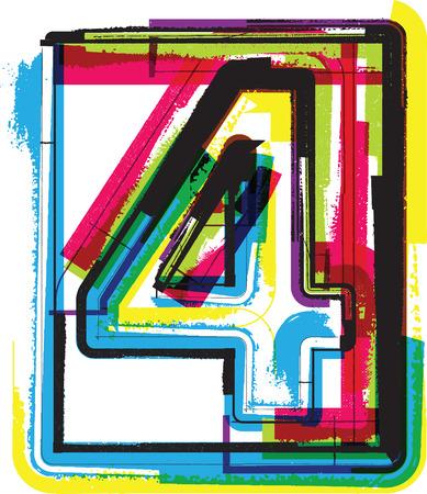 number 4: Colorful Grunge Font NUMBER 4