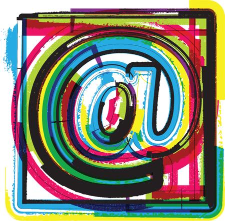 arobase: Colorful Grunge Symbol