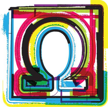 alphabet greek symbols: Colorful Grunge Symbol