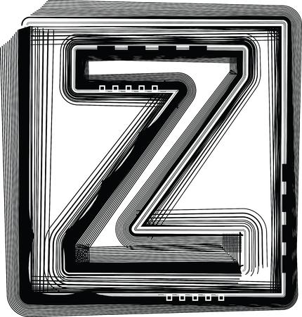 buchstabe z: Striped Font Buchstabe Z