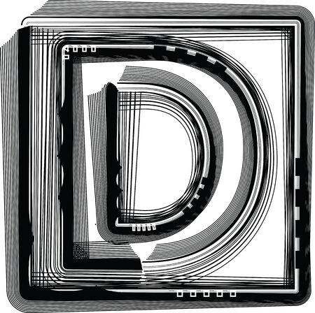 letter d: Striped Font Letter D