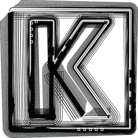 buchstabe k: Striped Font Buchstabe K