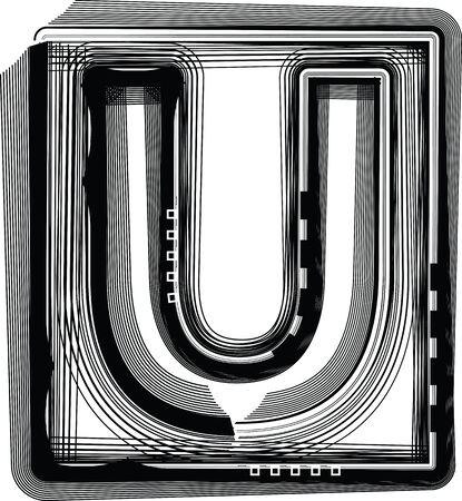 letter u: Striped Font Letter U Illustration