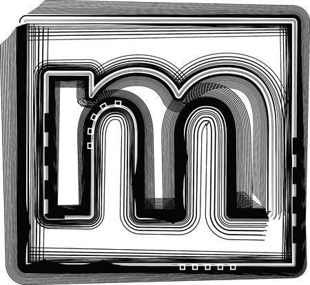 letra m: Rayas de la fuente de la letra M