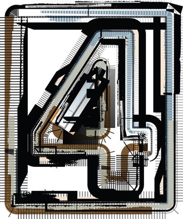 number 4: Grunge Font NUMBER 4 Illustration