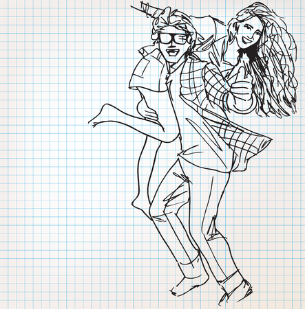 couple having fun: Young couple having fun sketch illustration Illustration