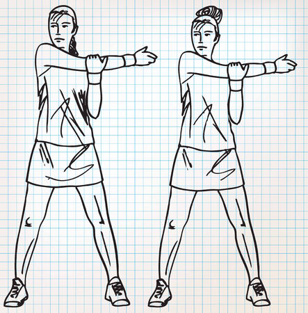 Stretching exercises sketch illustration Vector