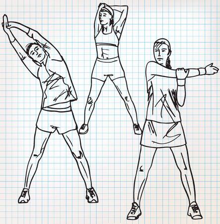 ストレッチ体操スケッチ図