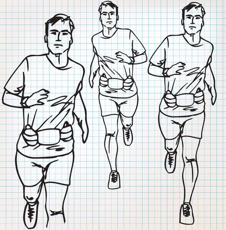 athlete running: male runner sketch illustration Illustration