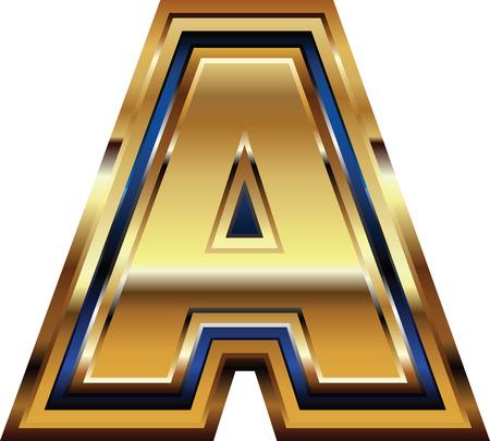 Golden Font Letter A Vector