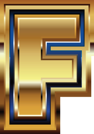 letter f: Golden Font Letter F Illustration