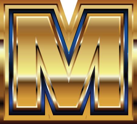 Golden Font Letter M Vector