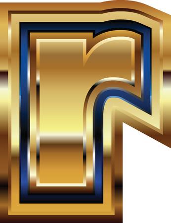 Golden Font Letter r Illusztráció