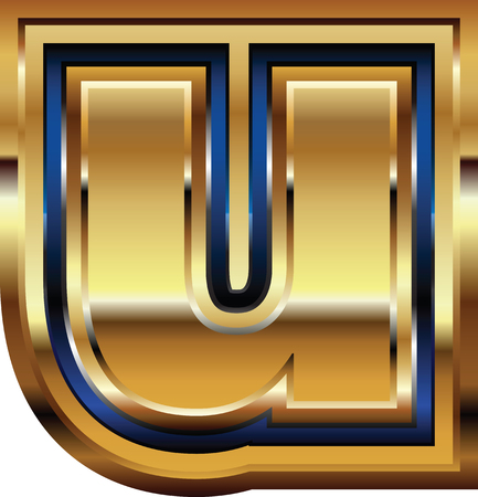letter u: Golden Font Letter u Illustration