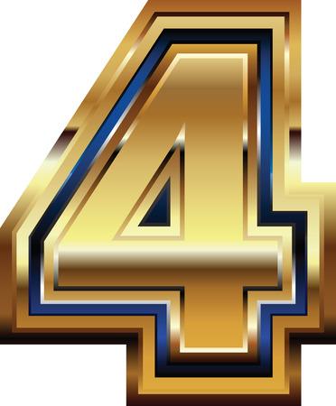 number 4: Golden Font Number 4 Illustration