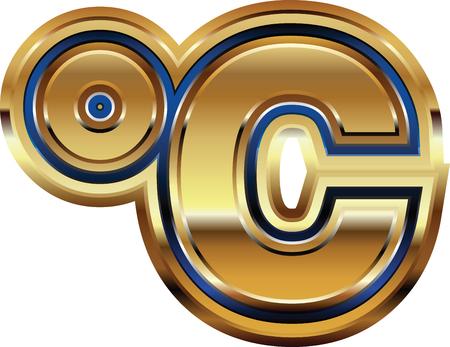 celcius: Golden Celcius Symbol Illustration