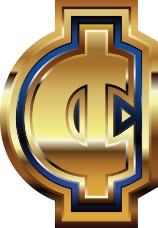 Golden cent Symbol Vector