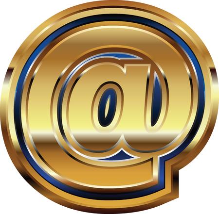 arobase: Golden at Symbol