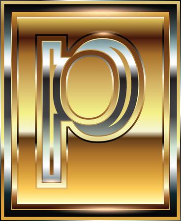 alphabetic: Ingot Font illustration Letter p