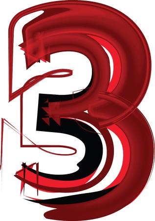Artistic font number 3 Vector