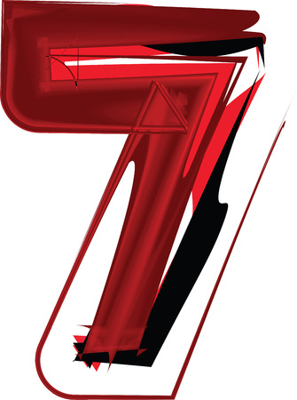 Artistic font number 7 Vector