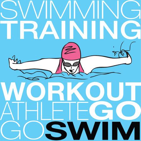 butterfly stroke: Illustration of Girl swimming in butterfly stroke style