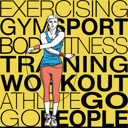body woman: Illustration of woman training with jump rope Illustration