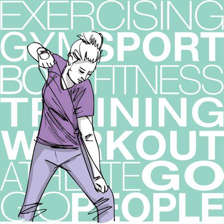 mujer ejercitandose: Ilustraci�n de la mujer el ejercicio con una cuerda de la resistencia Vectores