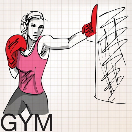 kick boxing: Illustration of woman with boxing gloves at workout, at gym
