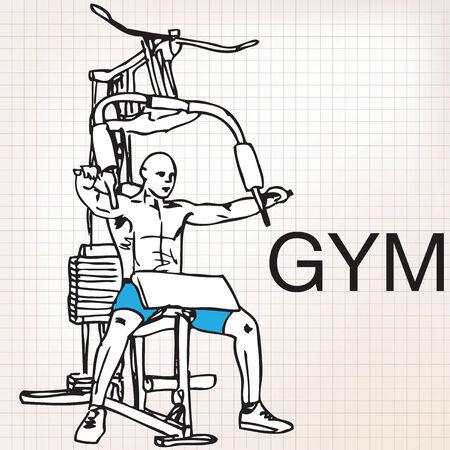 shirtless: Illustration of muscular man exercising on a lat machine in gym