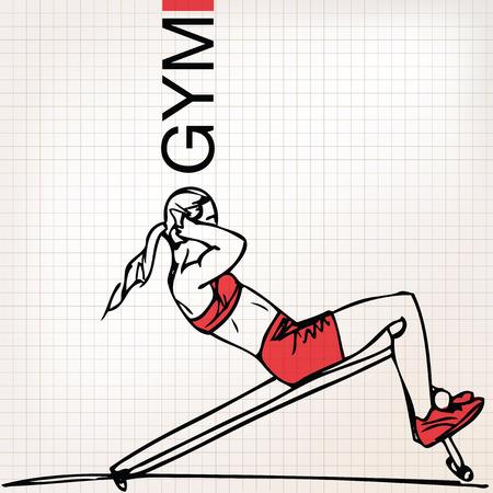 mujer ejercitandose: Ilustraci�n de la mujer atl�tica ejercicio
