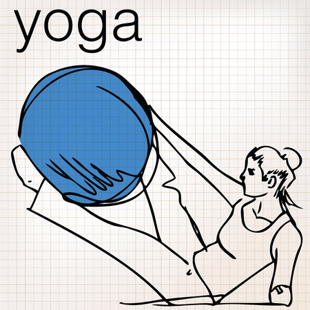 stability: Pilates illustration of woman stability ball gym fitness yoga