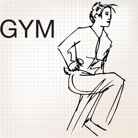 Illustration of Woman lifting dumbbells at the gym Vector
