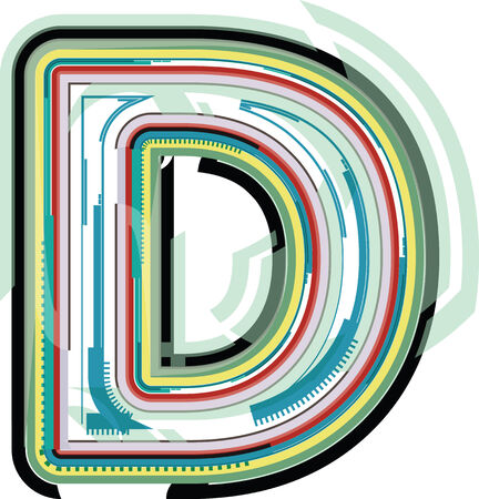 letter d: Abstract colorful Letter D