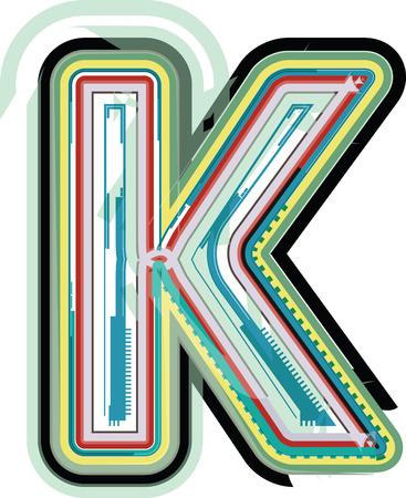 buchstabe k: Abstrakter bunter Buchstabe K Illustration