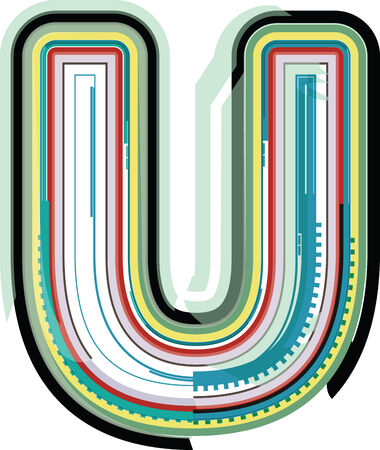 letter u: Abstract colorful Letter U