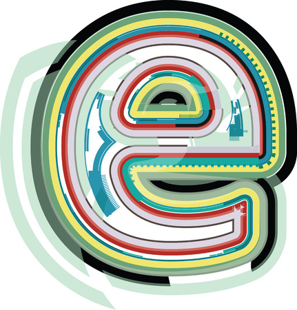 letter e: Abstract colorful Letter e Illustration