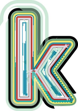 buchstabe k: Abstrakter bunter Buchstabe k