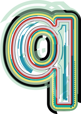 Abstract colorful Letter q