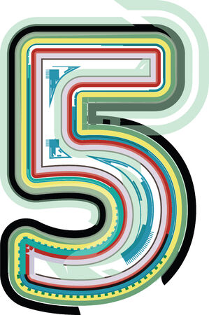 number 5: Abstract Colorful Number 5 Illustration