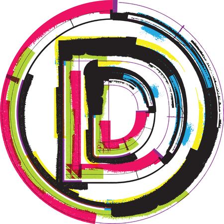 letter d: Colorful Grunge Font LETTER D