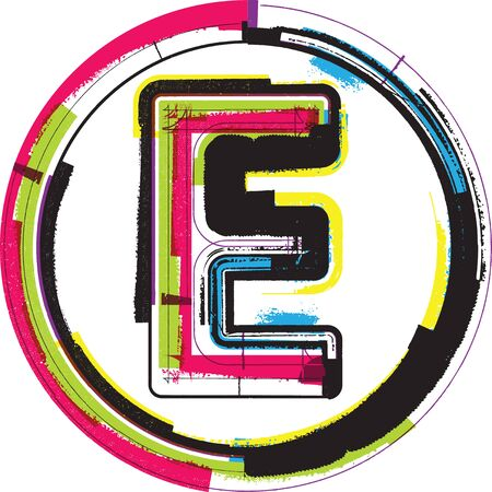 letter e: Colorful Grunge Font LETTER E