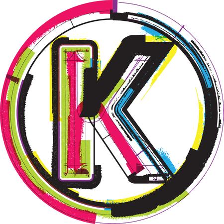 letter k: Colorful Grunge Font LETTER K Illustration